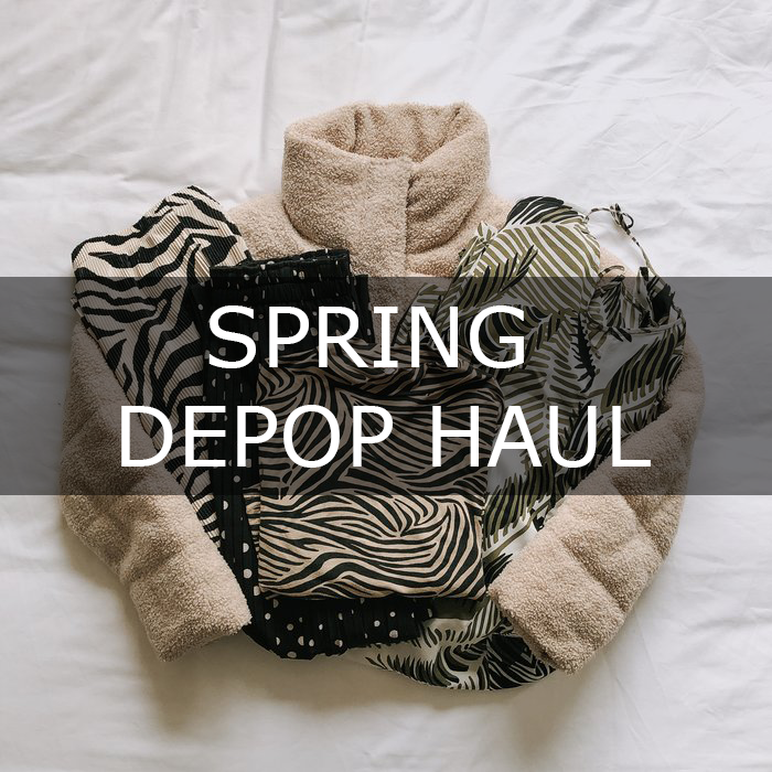Spring Depop Haul - a second hand clothing haul featuring culottes, puffer jackets and a jumpsuit.