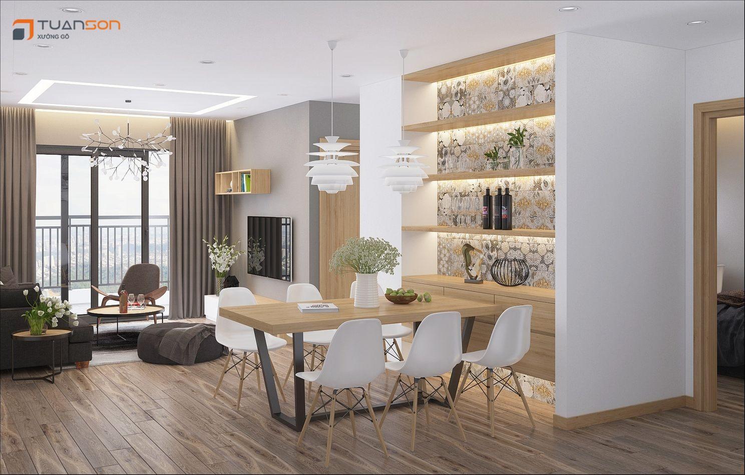 Thiết kế nội thất căn hộ 74m2 (2PN) chung cư Phương Đông Green Park Số 1 Trần Thủ Độ