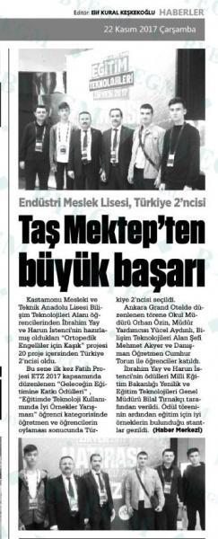 Endüstri Meslek Lisesi, Türkiye 2'ncisi, Taş Mektep'ten büyük başarı! - Basında Harun İstenci