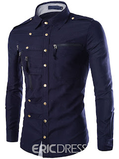 Long Sleeve Unique Zip Design Men's Shirt