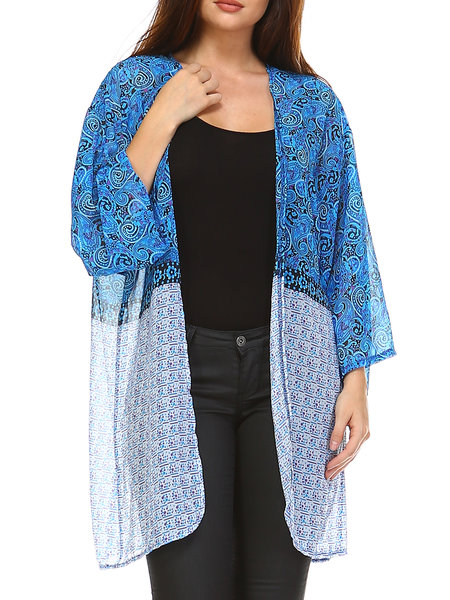 Blue Resort Abstract Polyester H-line Kimono
