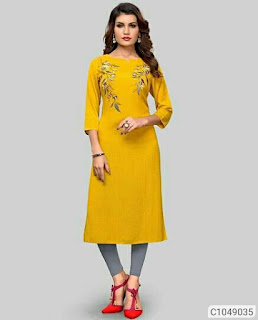 Fancy Cotton Printed Straight Casual Kurtis