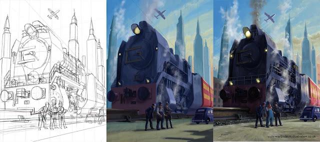 stages of digital illustration of large railroad locomotive Martin Davey
