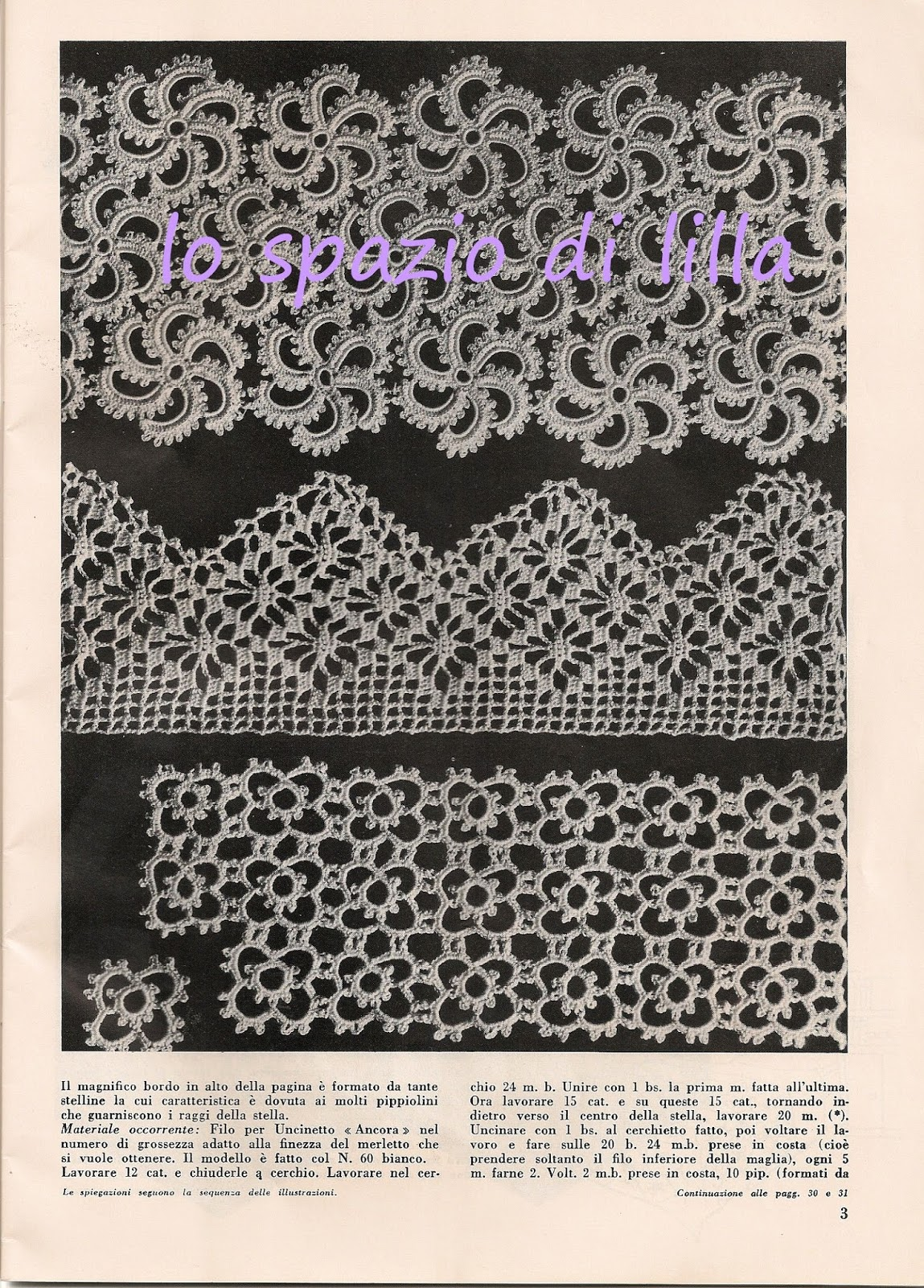 Lo spazio di lilla bordure all 39 uncinetto vintage schemi for Immagini uncinetto
