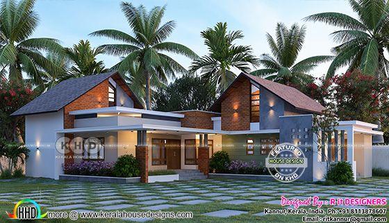 Mixed roof 4 bedroom single floor house front design