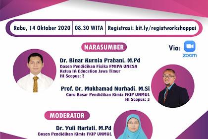 """WORKSHOP """"Penulisan Artikel Terindeks Scopus"""" (Narasumber Prof. Dr. H. Mukh. Nurhadi, M.Si. & Dr. Binar Kurnia Prahani )"""