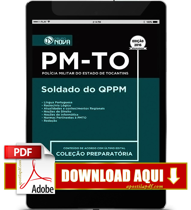 Apostila PM TO 2016 PDF Download Soldado QPPM PDF
