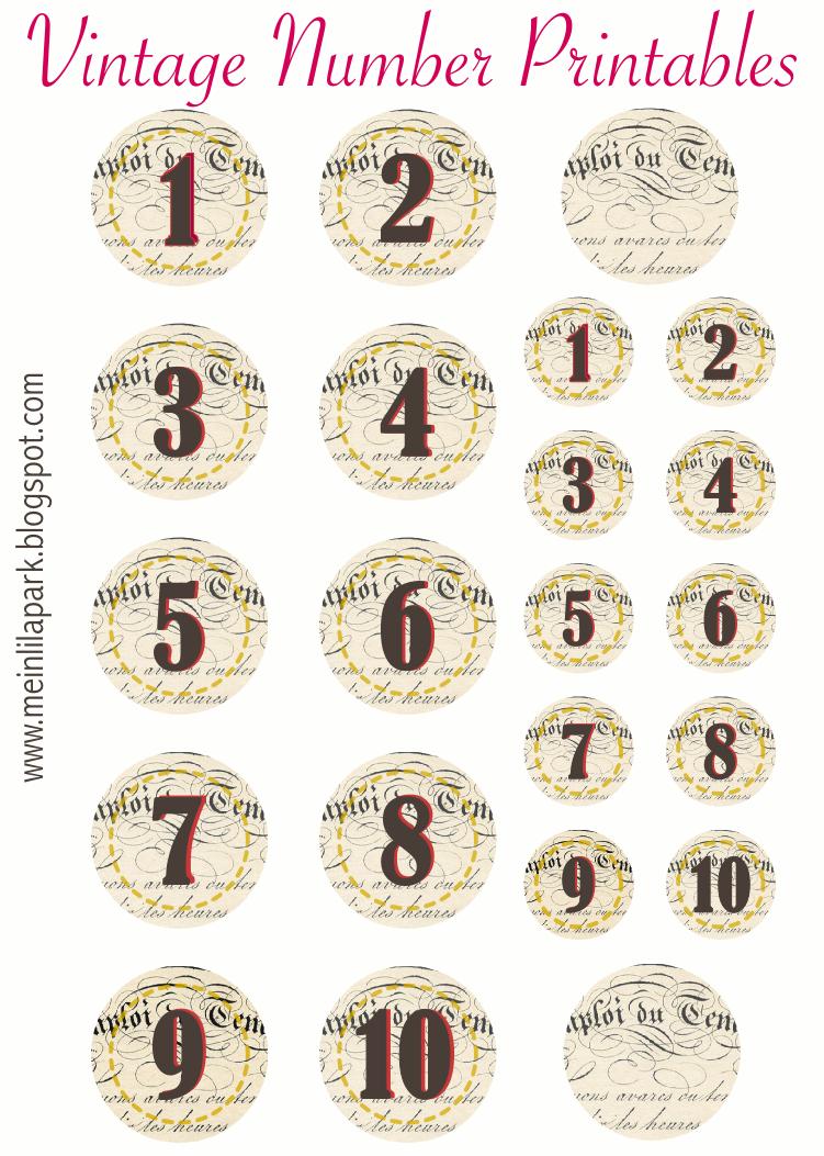 MeinLilaPark: Free printable vintage number stickers ...