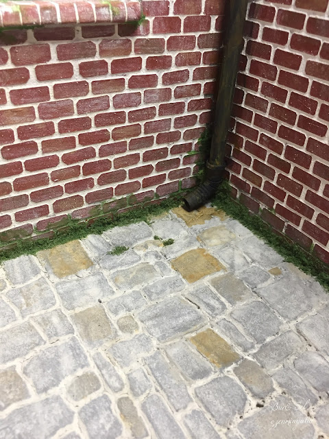 Miniature Brick wall and stone floor