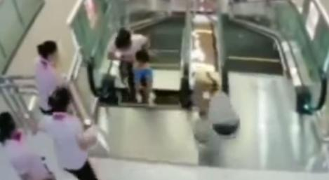 She saved her son and died caught in an escalator