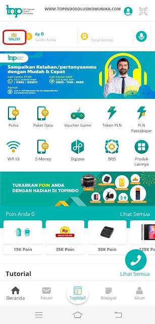 Tekan icon topup / isi saldo yang berada di kiri atas aplikasi Topindopay