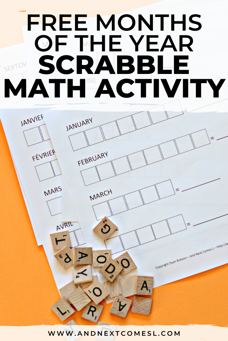 Free printable months of the year Scrabble math activity for kids