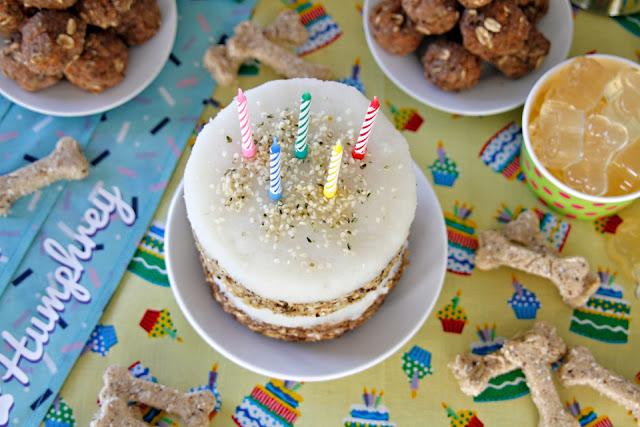 Homemade meat and fish dog birthday cake