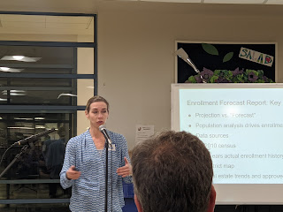 Superintendent Sara Ahern at the demographic study info session at HMMS March 5