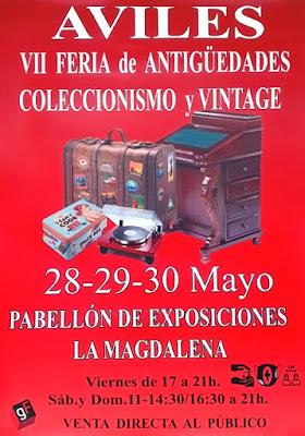 cartel, Avilés, Feria, antigüedades, coleccionismo, vintage