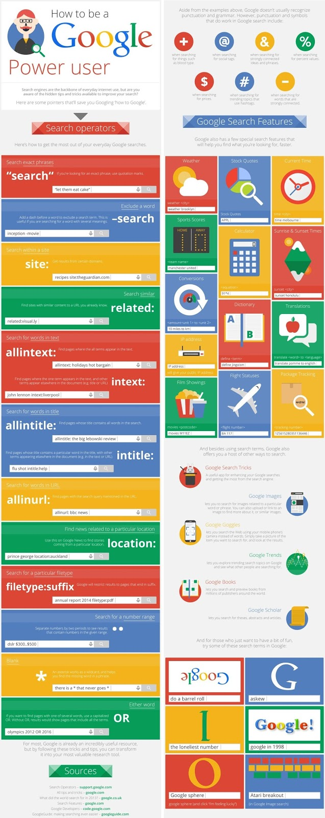 Two infographics with tips for becoming a Power Google User!