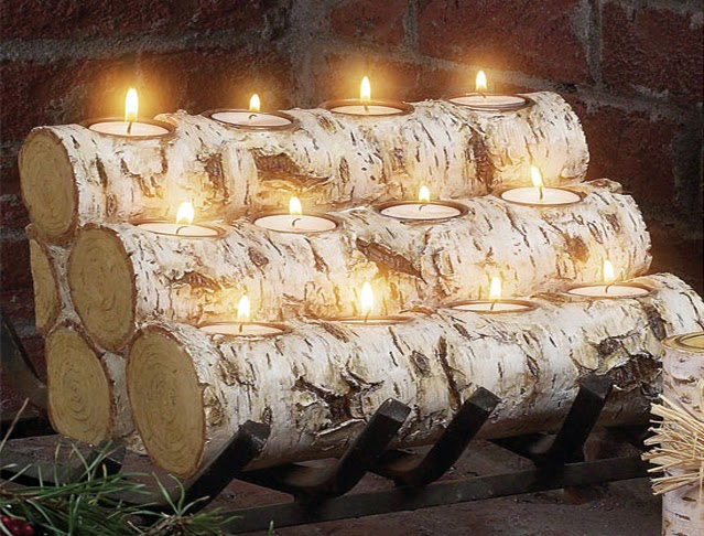 tealight fireplace logs photo Harper Blvd Tealight Fireplace Log Brown (Resin) | Fireplace logs