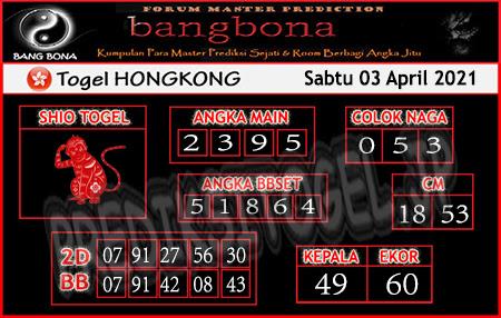 Prediksi Bangbona HK Sabtu 03 April 2021
