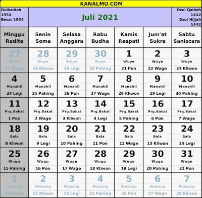 kalender juli 2021 lengkap jawa hijriyah