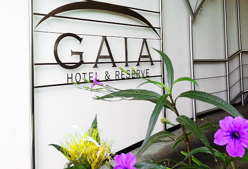 Gaia sign on gate Gaia Hotel Costa Rica with purple flowers on the ground