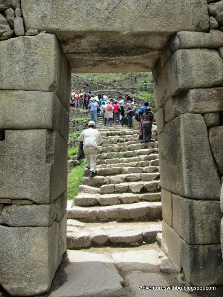 Heading through a stone archway