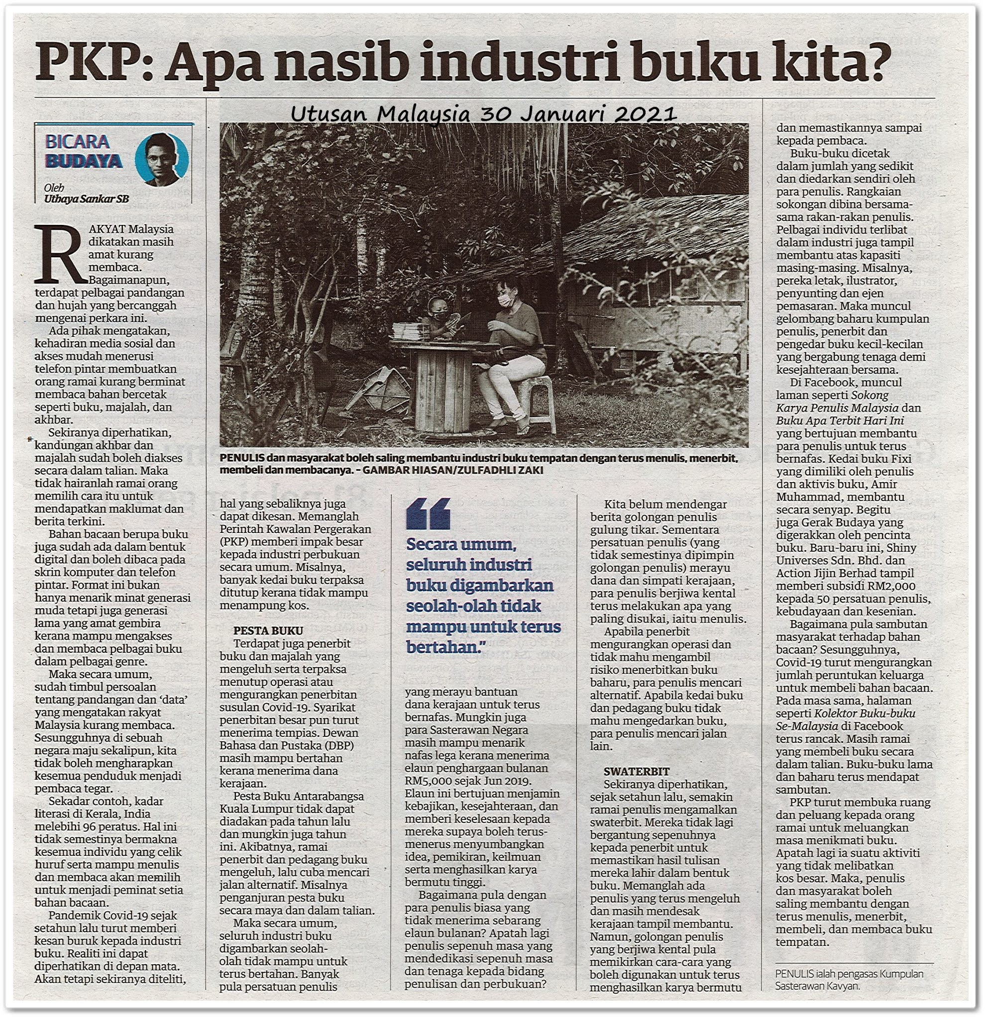 PKP : Apa nasib industri buku kita? - Keratan akhbar Utusan Malaysia 30 Januari 2021