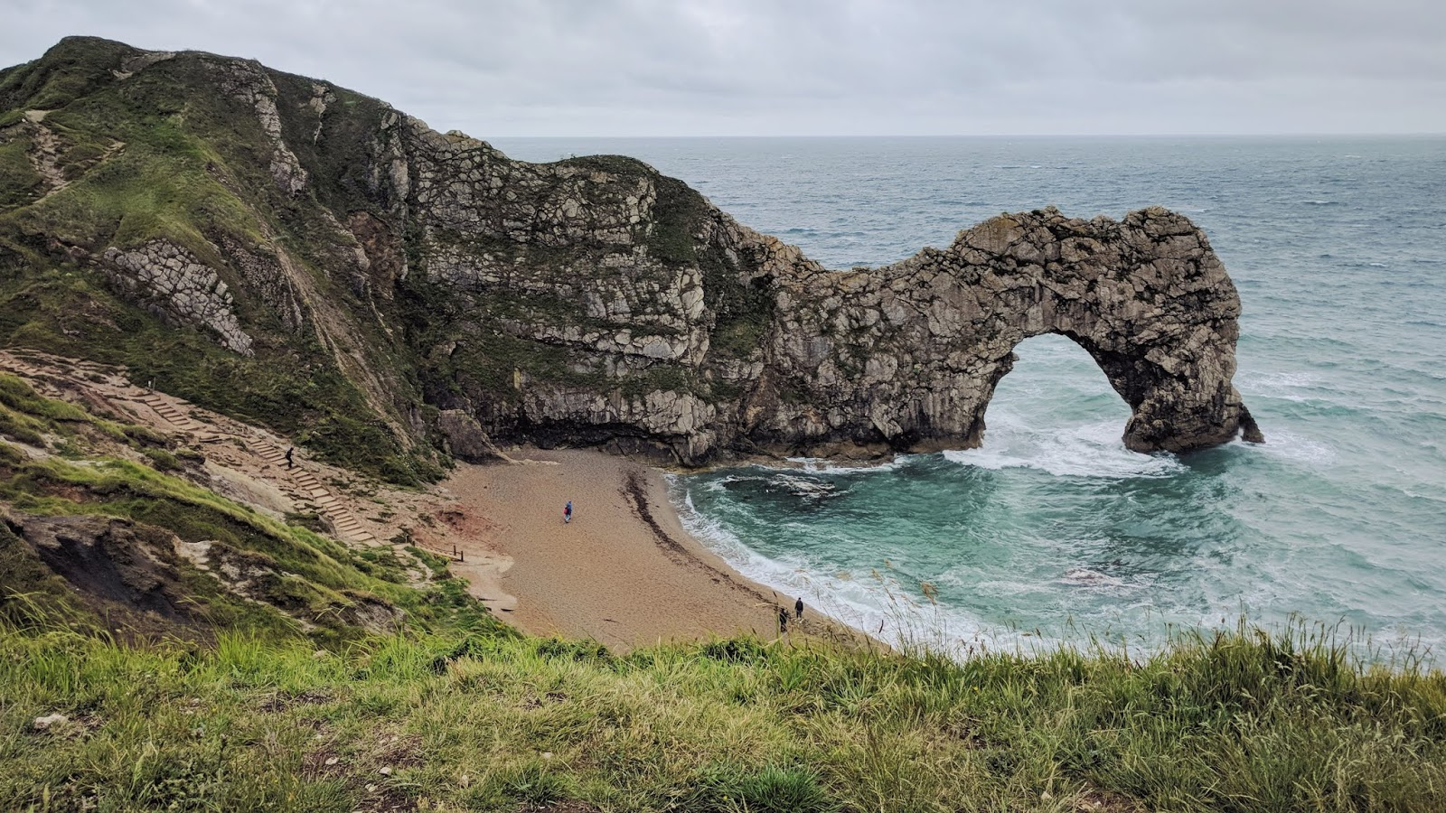 Durdle Door on a cloudy day