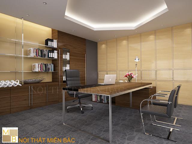 Thiết kế nội thất phòng giám đốc này với chiếc bàn giám đốc thiết kế đơn giản làm điểm nhấn thu hút cho không gian làm việc