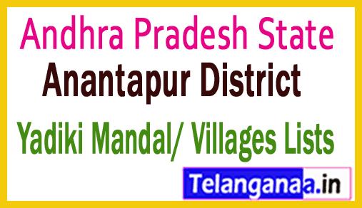 Yadiki Mandal Villages Codes Anantapur District Andhra Pradesh State India