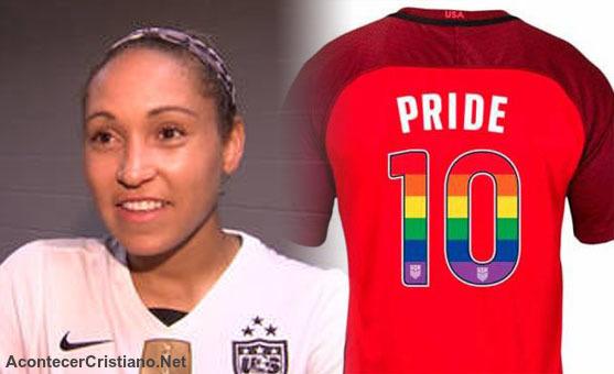 """Futbolista Jaelene Hinkle camiseta del """"orgullo gay"""""""