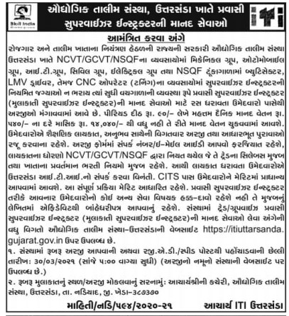 ITI Gujarat Recruitment 2021 » MaruGujaratDesi Latest Jobs