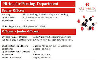 Glenmark Pharmaceuticals Limited Hiring for Packing Department For ITI/Diploma/ B. Com / B.A/ B. Sc Candidates Selection By Online Interview