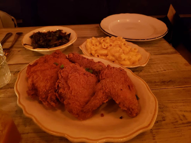 Fried Chicken comes in white or dark meat. This is 2 of each an it was perfect