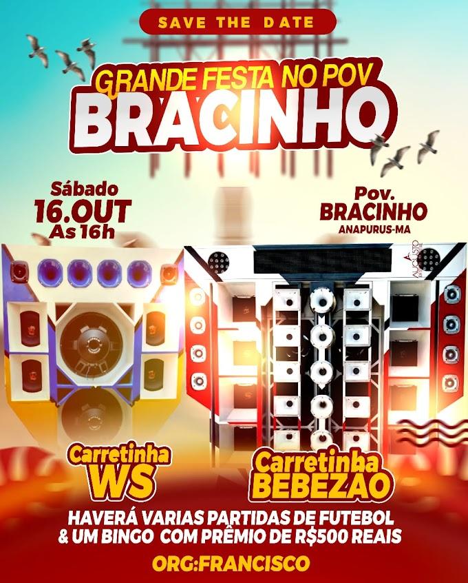 Grande Festa no povoado Bracinho dia 16 de outubro de 2021