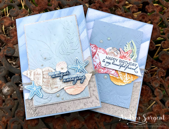 A number of sea shells and a focus on Stampin' Up!s Seaside Spray combine to say 'how unique & amazing' you are on especially designed cards by Valley Inspirations with Andrea Sargent.