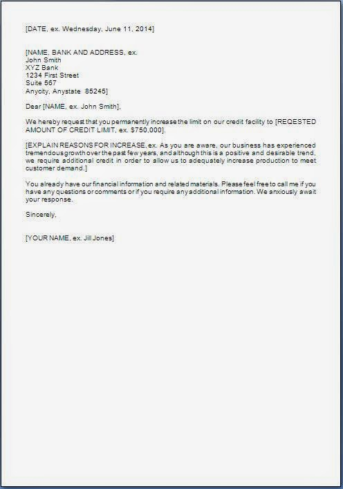 request letter to bank for increase in credit limit