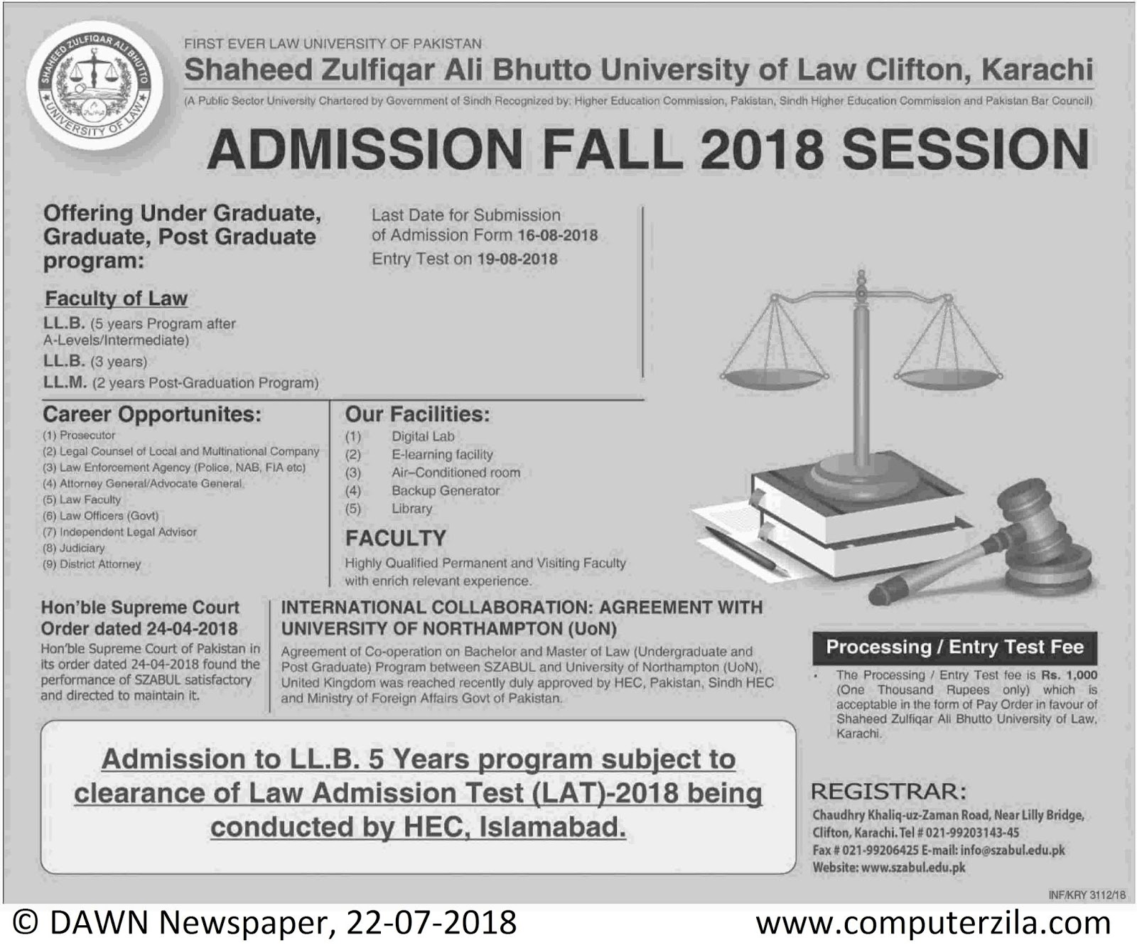 Admissions Open For Fall 2018 At SZABUL Karachi Campus
