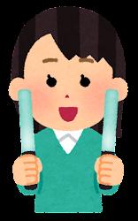 エメラルド色のペンライトを持つ人のイラスト(女性)