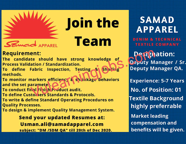 Samad Apparel Jobs 2020 In Pakistan For DM/ Sr DM Manager Latest