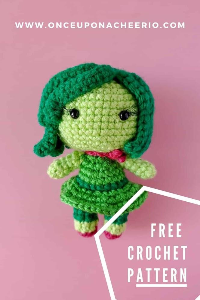 Inside Out Disgust Amigurumi Doll Free Crochet Pattern
