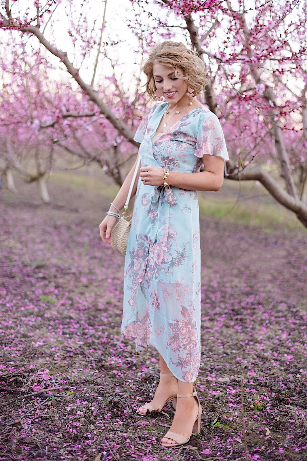 Spring Style: Floral Wrap Dress & Peach Blossoms - Something Delightful Blog