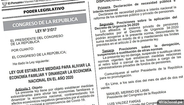 Ley de retiro del 25 % de los fondos AFP fue publicada en el diario El Peruano