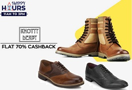 Happy Hours Sale: Knotty Derby Men's Shoes : Flat 70% Paytm Cashback (Valid till 3 PM Only)