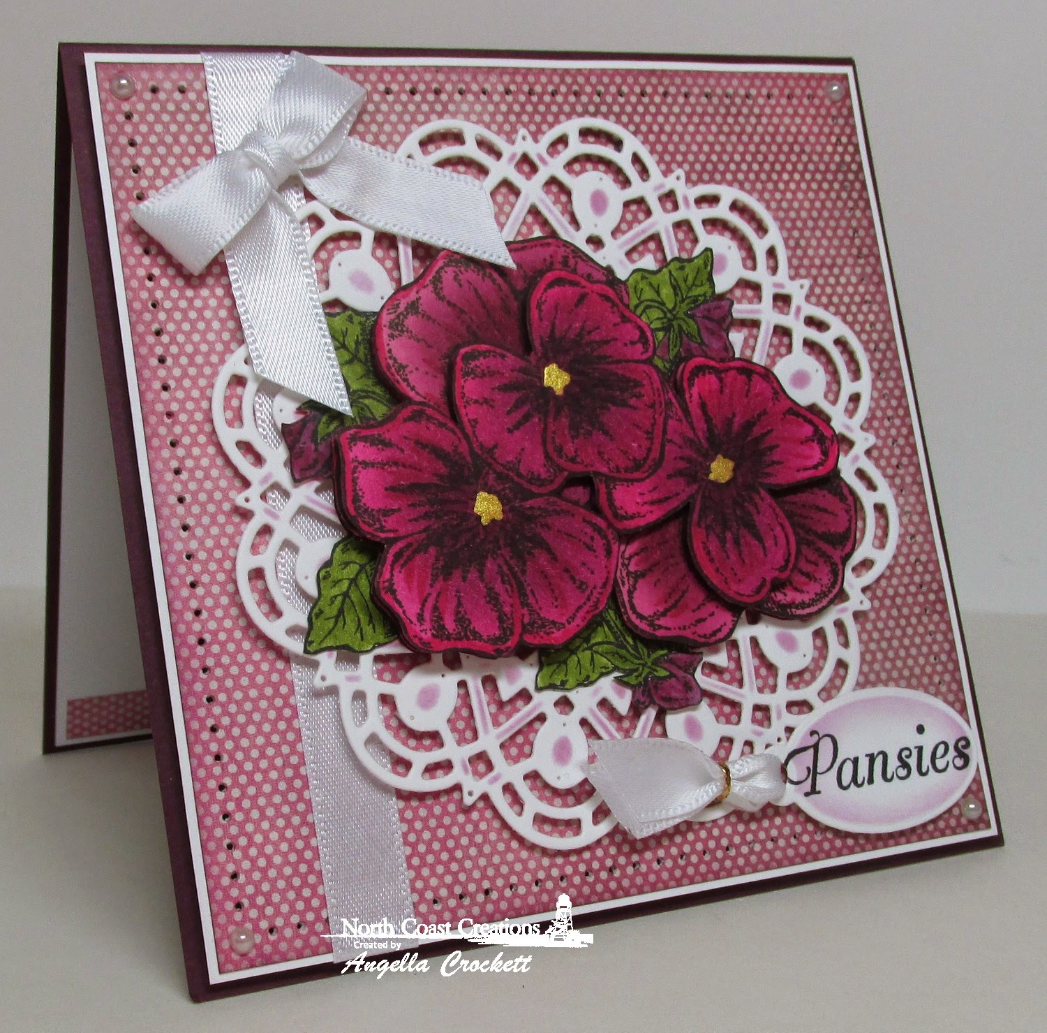 North Coast Creations Pansies, ODBD Custom Doily Dies, ODBD Custom Mini Tags Dies,ard Designer Angie Crockett