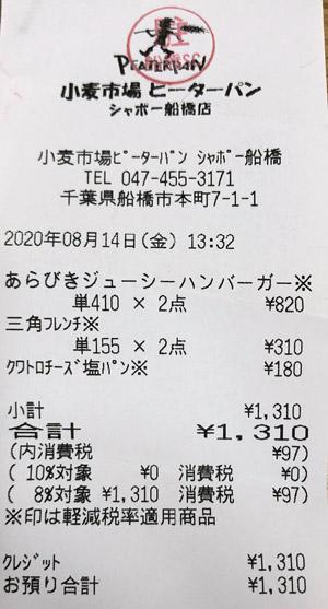 小麦市場 ピーターパン シャポー船橋店 2020/8/14 のレシート