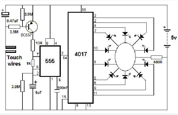 roulette circuit with touch switch using ic4017