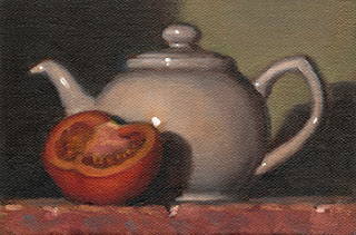 Still life oil painting of half a tomato beside a white ceramic teapot.