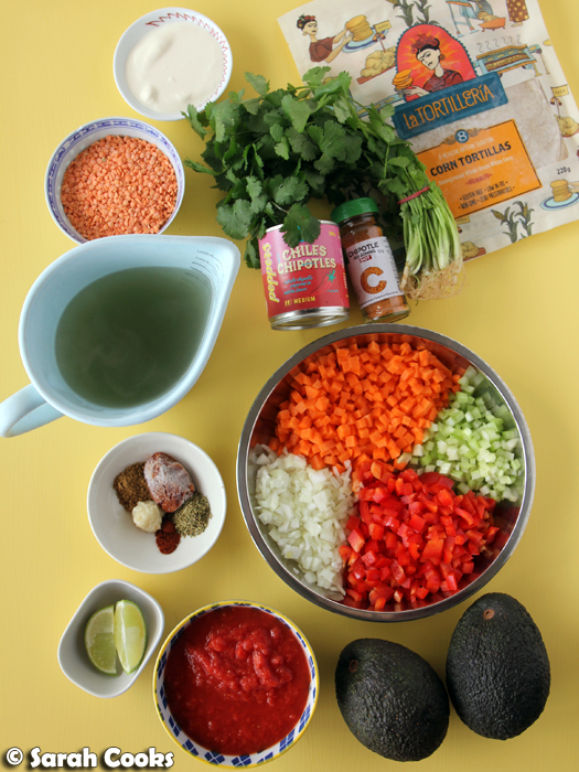 Ingredients for Mexican Lentil Soup with Chipotle Tortilla Chips
