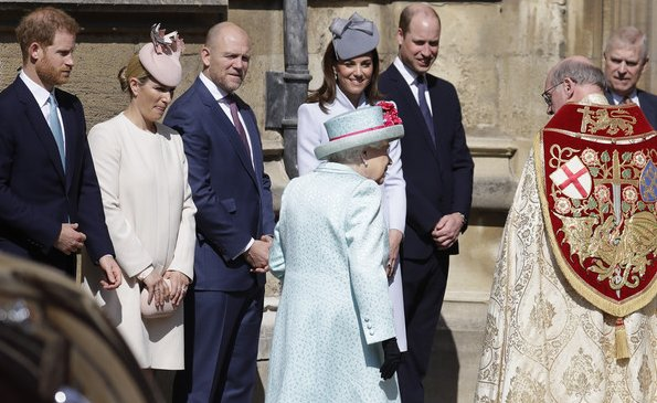 Kate Middleton wore a dove grey coat by Alexander McQueen. The Countess of Wessex wore a floral dress by Oscar de la Renta