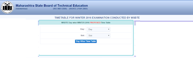 MSBTE Semester 2017 Examination Winter 2017 Day Wise TimeTable